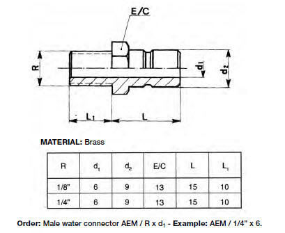 AEM_Water Connector_male